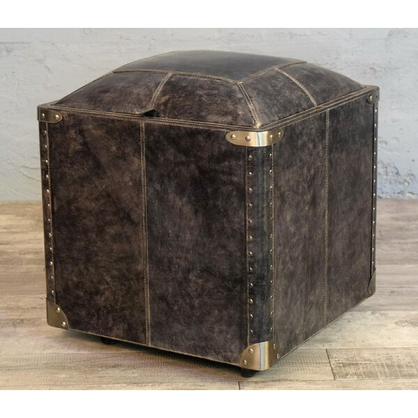 Aubrianne Genuine Leather Storage Accent Stool By Darby Home Co