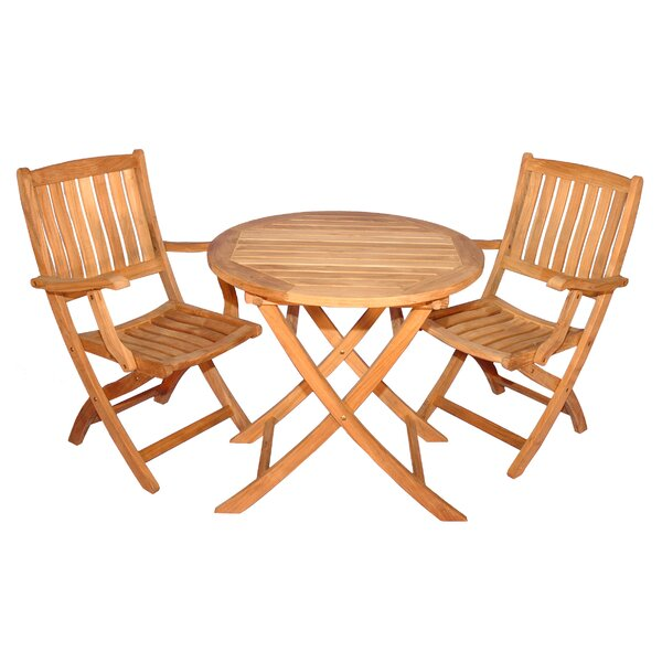 Bullock 3 Piece Teak Dining Set by Highland Dunes
