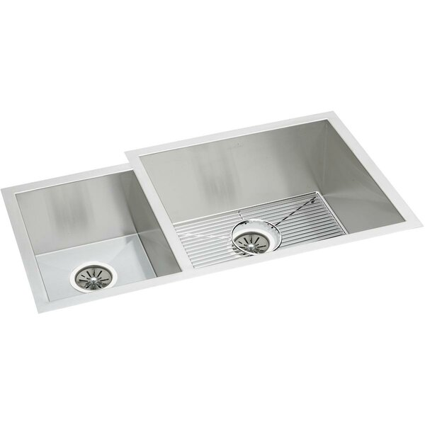 Crosstown 35 L x 21 W Double Basin Undermount Kitchen Sink with Basket Strainer by Elkay