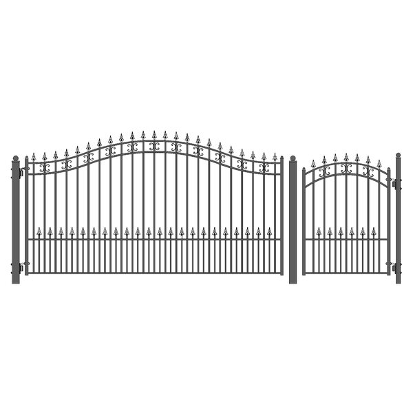 St. Petersburg Steel Single Swing Driveway Gate with Pedestrian Gate by ALEKO