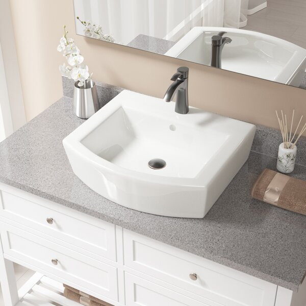 Specialty Vitreous China Specialty Vessel Bathroom Sink with Faucet and Overflow