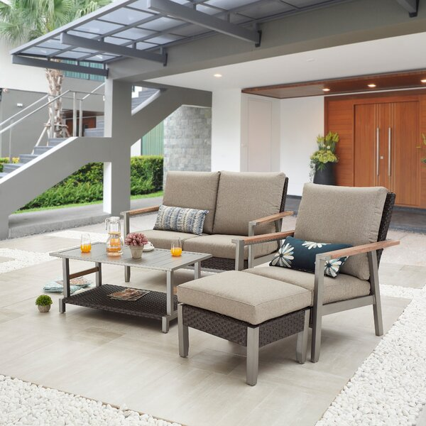 Sukriye Outdoor 4 Piece Sofa Seating Group with Cushions by Latitude Run