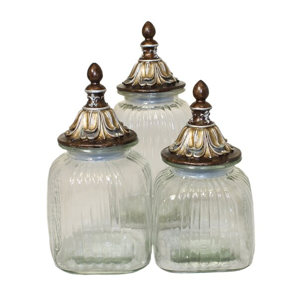 Urban Baroque Glass 3 Piece Kitchen Canister Set by EC World Imports