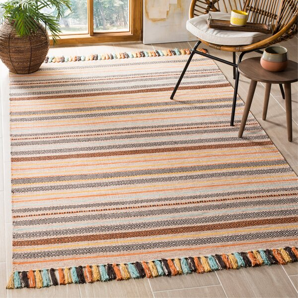 Trenton Hand-Woven Cotton Beige Area Rug by Bungalow Rose