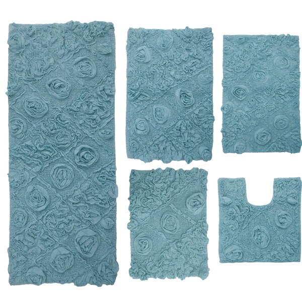 Schoenberger Multiple 100% Cotton Non-Slip piece Bath Rug Set