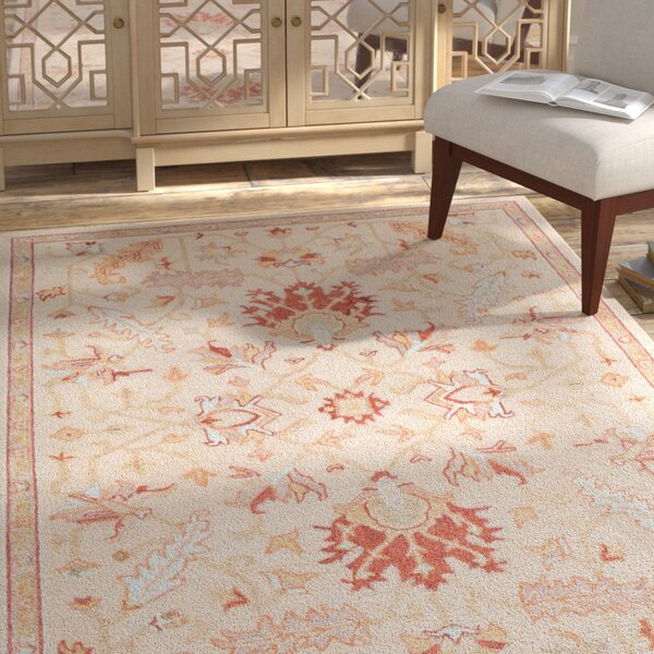 Rimrock Traditional Floral Hand Hooked Wool Khaki Area Rug by Bloomsbury Market