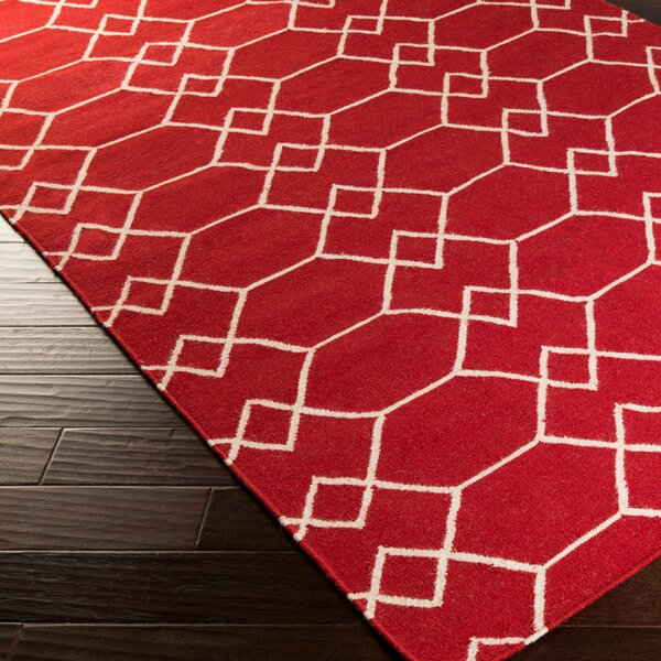 Donley Carnelian Geometric Area Rug by Wrought Studio