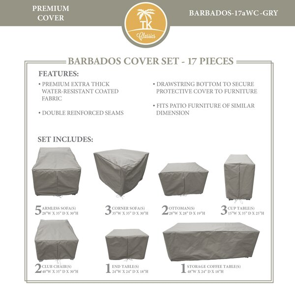 Barbados 17 Piece Water Resistant Patio Furniture Cover Set by TK Classics