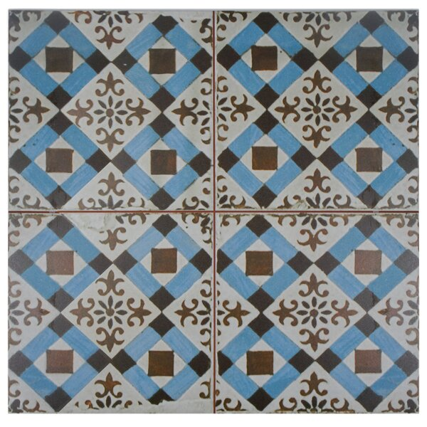 Royalty Millbasin 17.63 x 17.63 Ceramic Field Tile in Brown/Blue by EliteTile