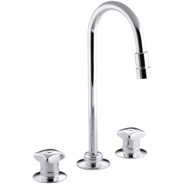 Triton Widespread Commercial Bathroom Sink Faucet with Rigid Connections and Gooseneck Spout with Vandal-Resistant Aerator, Requires Handles, Drain Not Included by Kohler