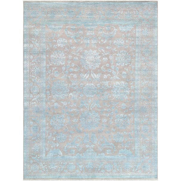 Transitiona Hand-Knotted Wool/Silk Light Blue Area Rug by Pasargad