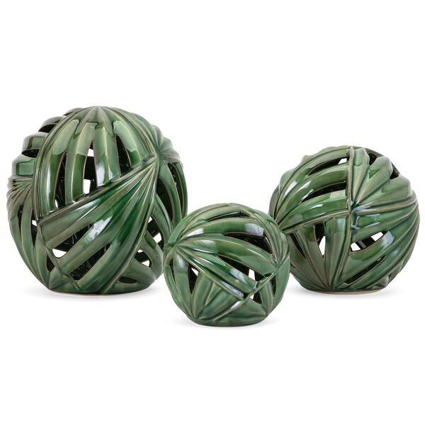 Green Decorative Balls 3 Piece Sculpture Set by Bay Isle Home
