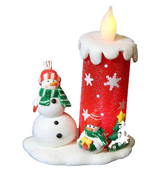 Snow Drift LED Lighted Christmas Flameless Candle with Snowman by Penn Distributing