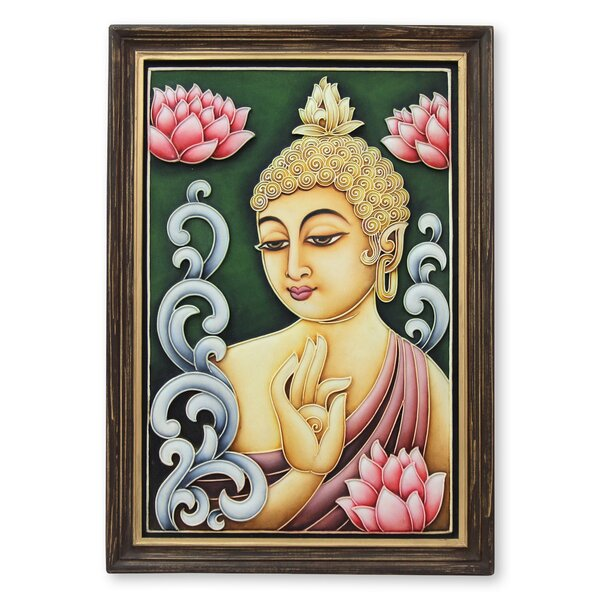 Buddha Reigns in Peace Marble Dust Relief Panel by Shweta Framed Painting by Novica