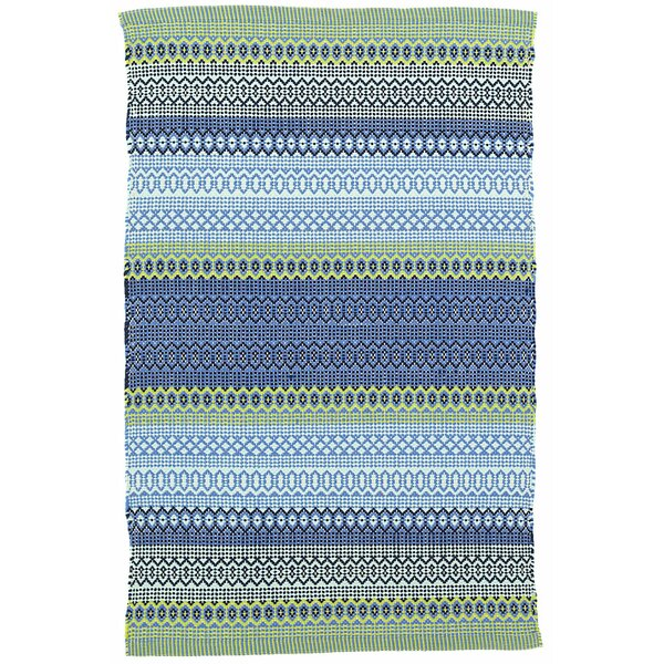 Fiesta Stripe French Blue/Green Indoor/Outdoor Area Rug by Dash and Albert Rugs