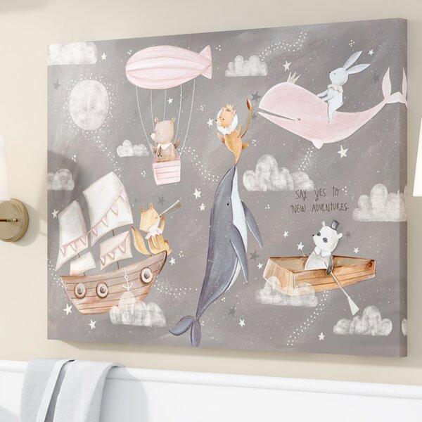 Kacey Nighttime Adventures Framed Canvas Art by Harriet Bee