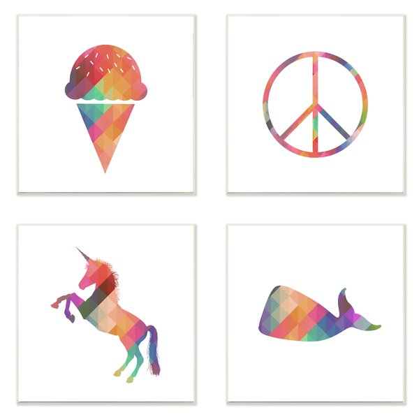 4 Piece Geometric Rainbown Silhouettes Ice Cream Peace Unicorn Whale Wall Plaque Set by Stupell Industries