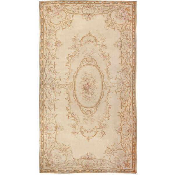 One-of-a-Kind French Hand-Knotted Brown 18' x 34'6 Wool Area Rug