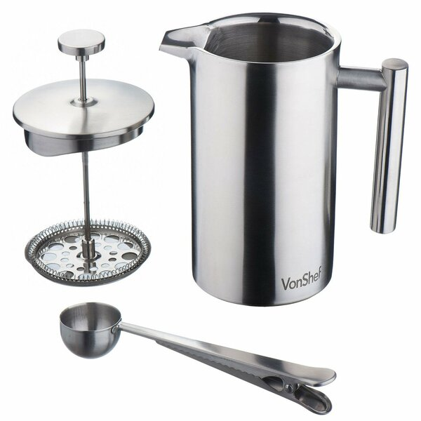 Stainless Steel French Press Cafetiere Coffee Maker by VonShef