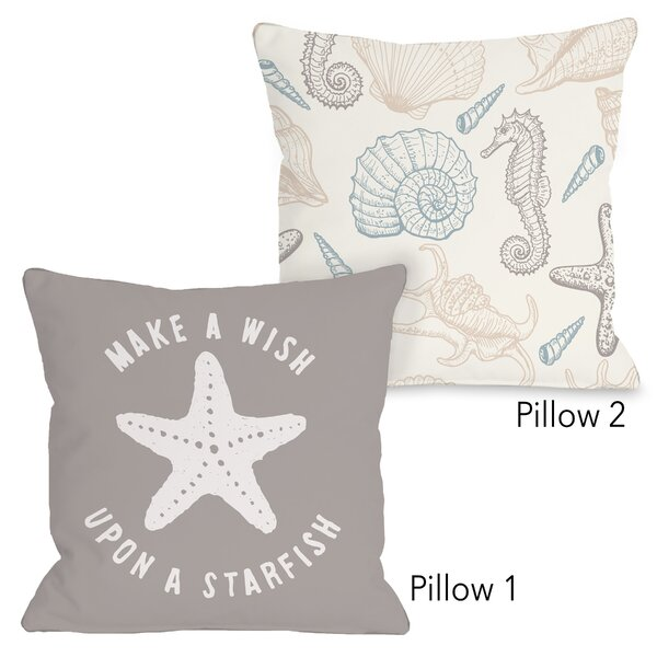 Marceline Make a Wish Starfish and Natural Sea Life 2 Piece Throw Pillow Set by Highland Dunes