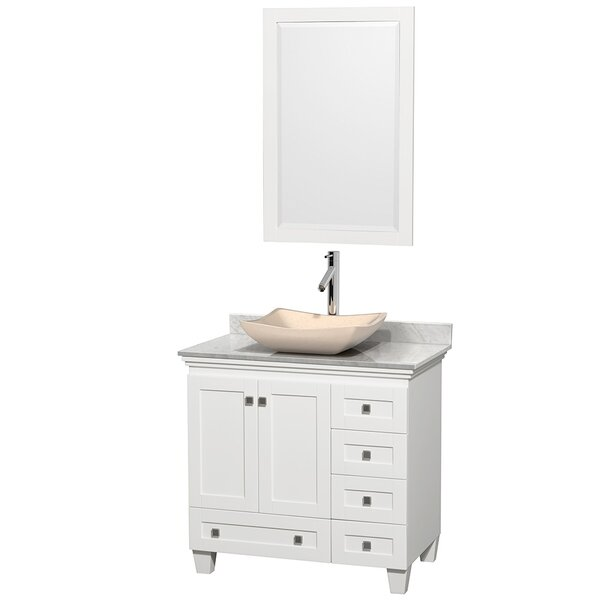 Acclaim 36 Single White Bathroom Vanity Set with Mirror by Wyndham Collection