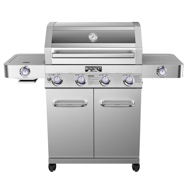 4-Burner Propane Gas Grill with Clear View Lid, Side and Sear Burners by Monument Grills