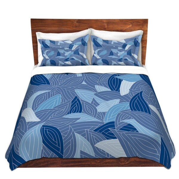 Blue Leaves Navy Duvet Cover Set by DiaNoche Designs