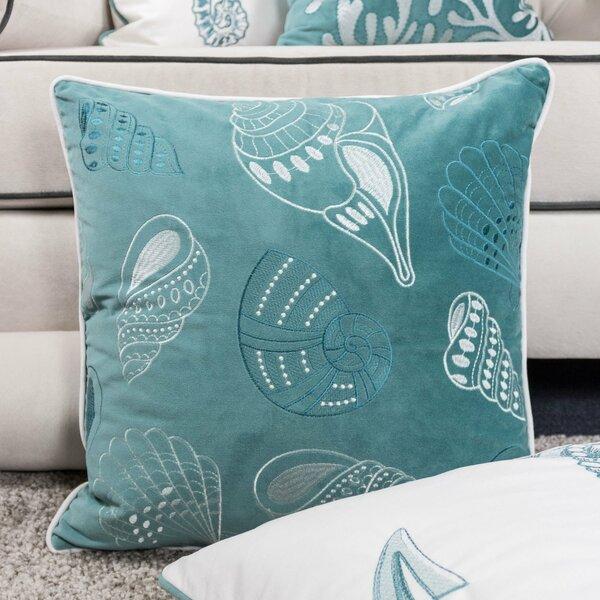 Farnham Embroidery Seashell Velvet Throw Pillow by Highland Dunes