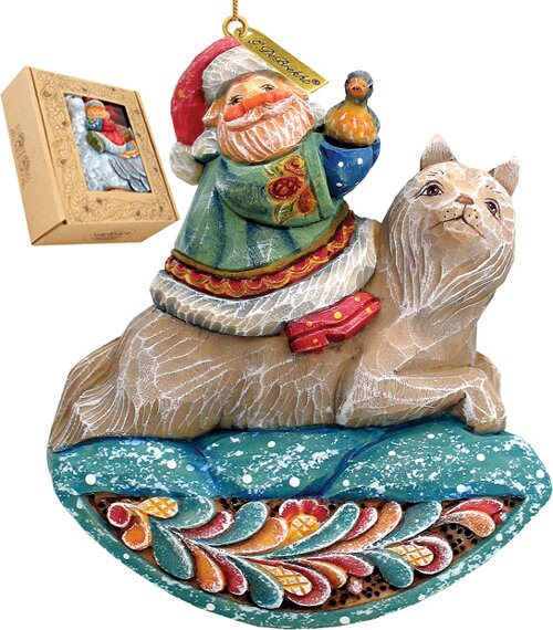 Fifield Santa on Wolf Figurine Ornament by The Hol