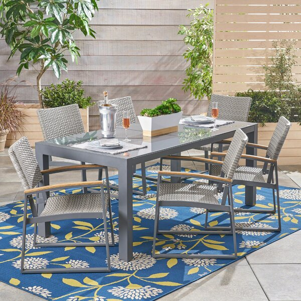 Bolebroke Outdoor 7 Piece Dining Set with Cushions