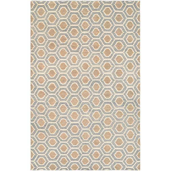 San Diego Steel Hand-Knotted Blue/Camel Area Rug by Corrigan Studio