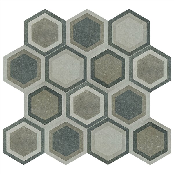 Transit Hex 8.63 x 9.75 Porcelain Field Tile in Combi Gray by EliteTile