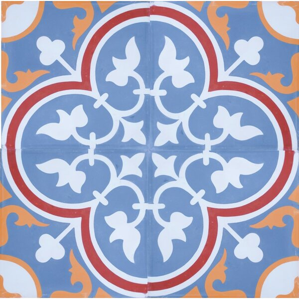 8 x 8 Roseton Cement Decorative Concrete Tile in Blue/White (Set of 4) by Rustico Tile & Stone