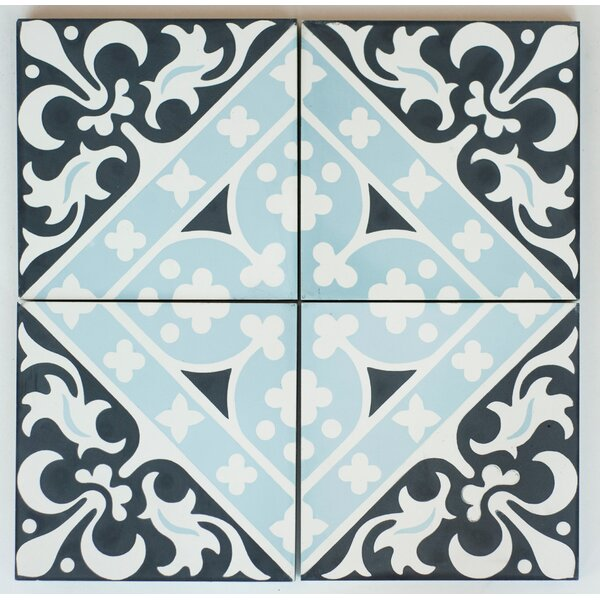MeaLu Victorian Encaustic 8 x 8 Cement Field Tile in Black/Blue (Set of 4) by Rustico Tile & Stone