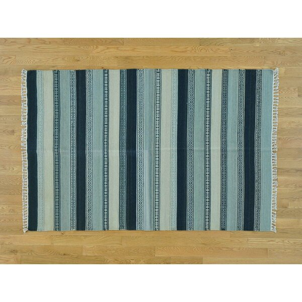 One-of-a-Kind Bisbee Striped Reversible Handmade Kilim Wool Area Rug by Isabelline