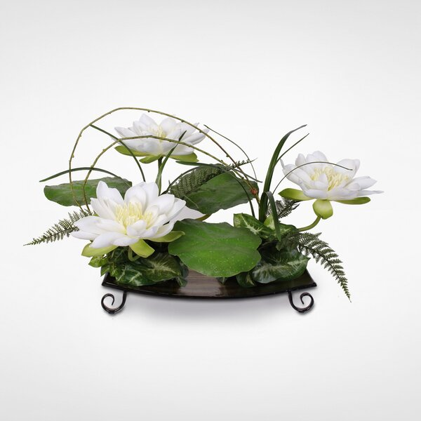 Silk Water Lily with Water Drops on Leaves Floral Arrangement by Gracie Oaks