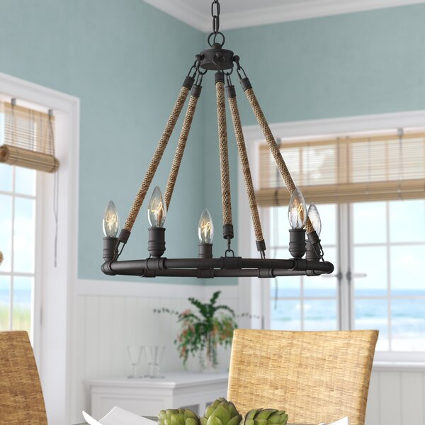 Mexico Beach 5 - Light Candle Style Wagon Wheel Chandelier With Rope Accents By Beachcrest Home