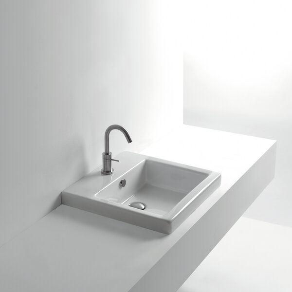 Whitestone Ceramic Square Drop-In Bathroom Sink with Overflow by WS Bath Collections