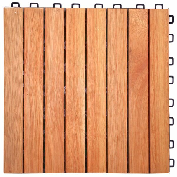 Cadsden 8 Slat 12 x 12 Wood Interlocking Deck Tile