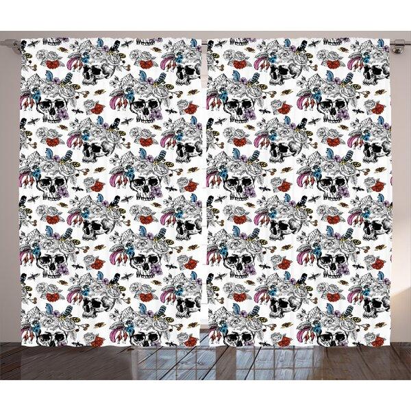 Bonomo Day Of The Dead Graphic Print & Text Semi-Sheer Rod Pocket Curtain Panels (Set of 2) by Latitude Run