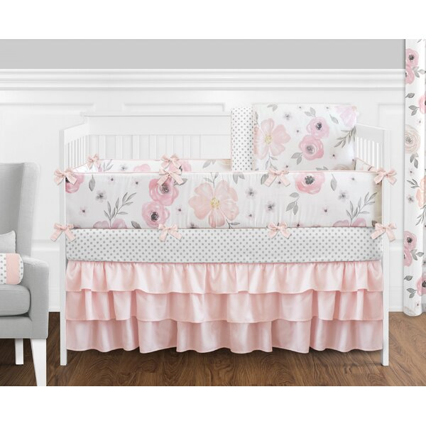 Watercolor Floral 9 Piece Crib Bedding Set by Swee