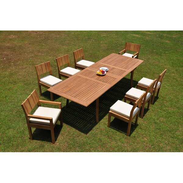 Ingerson 9 Piece Teak Dining Set by Rosecliff Heights