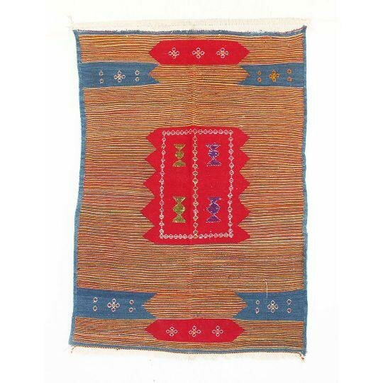 Aknif Moroccan Hand Knotted Wool Orange/Blue Area Rug by Indigo&Lavender