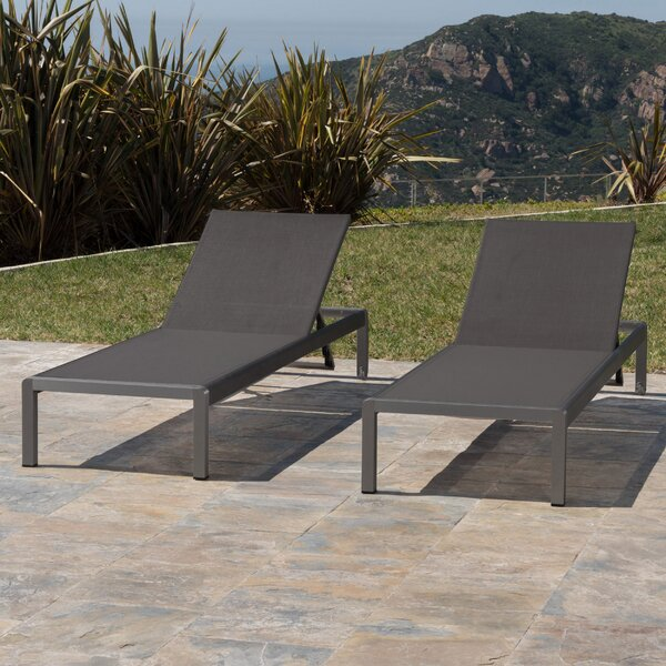 Crosstown Aluminum Mesh Chaise Lounge (Set of 2) by Brayden Studio
