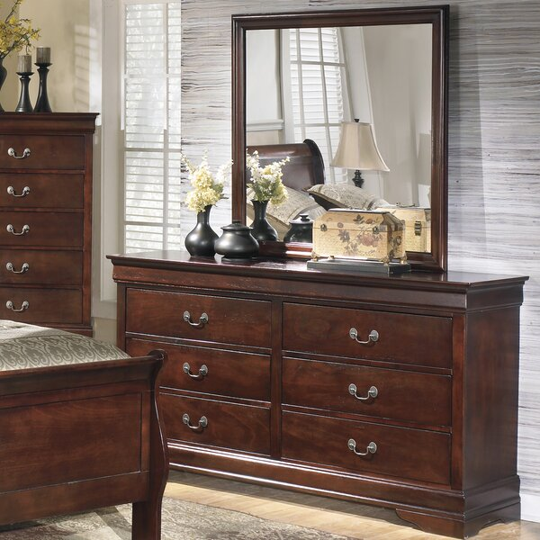 Dwyer 6 Drawer Double Dresser with Mirror by Three Posts