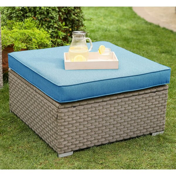Thanos Furniture Outdoor Ottoman with Cushion by Rosecliff Heights