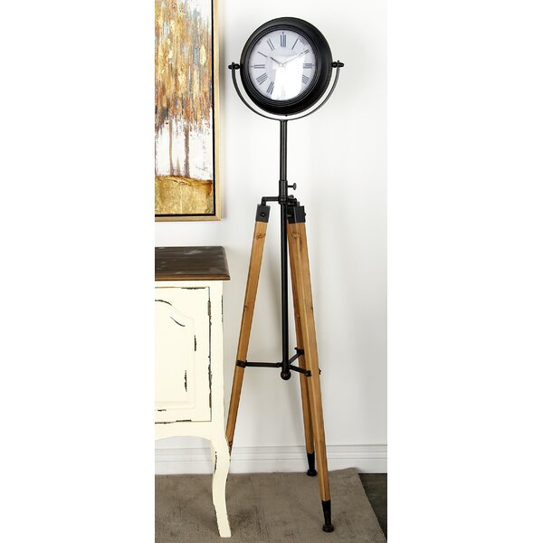 Metal and Wood Tripod 62 Floor Clock by Cole & Grey