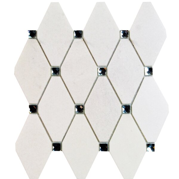 Mirage Lozenge 2.5 x 5 Marble/Glass Mosaic Tile in White by Splashback Tile
