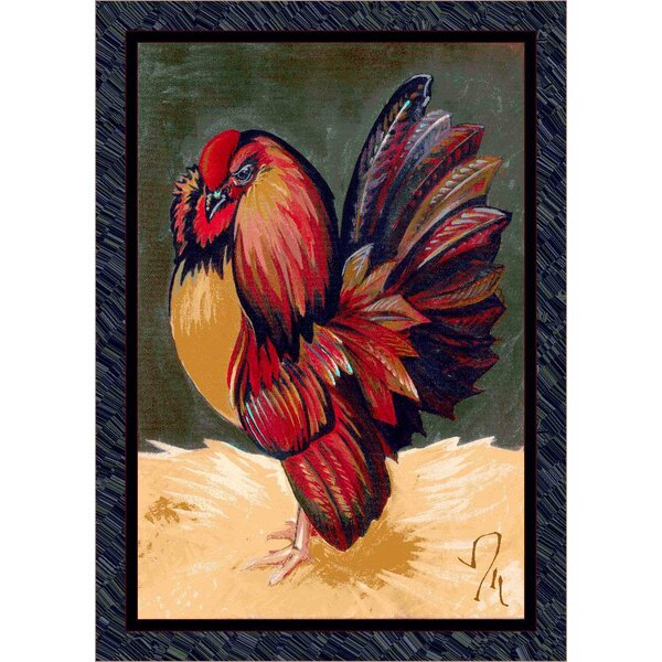 Fall Seasonal Red/Green Provincial Rooster Area Rug by Milliken