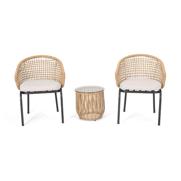 Monterey Outdoor 3 Piece Seating Group with Cushions by World Menagerie